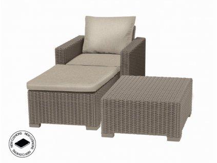Záhradný nábytok Keter set stôl + kreslo + podnožka California cappuccino