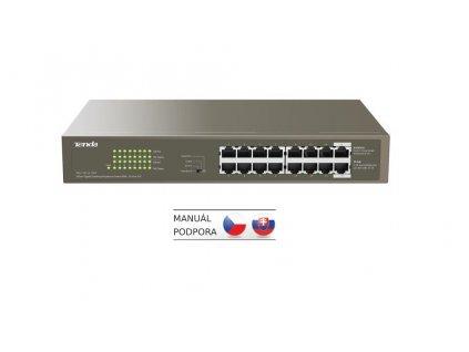 Tenda TEG1116P-16-150W PoE AT Gigabit switch 16x 1Gb/s s PoE 802.3af/at, PoE 135W,Rackmount, Fanless