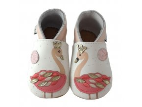 Chaussons cuir Flamants roses Front