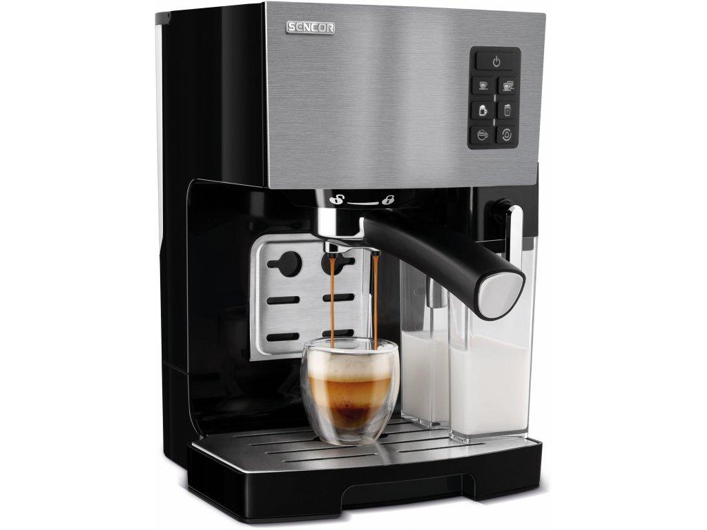 SES 4050SS Espresso s nádobkou na mléko SENCOR
