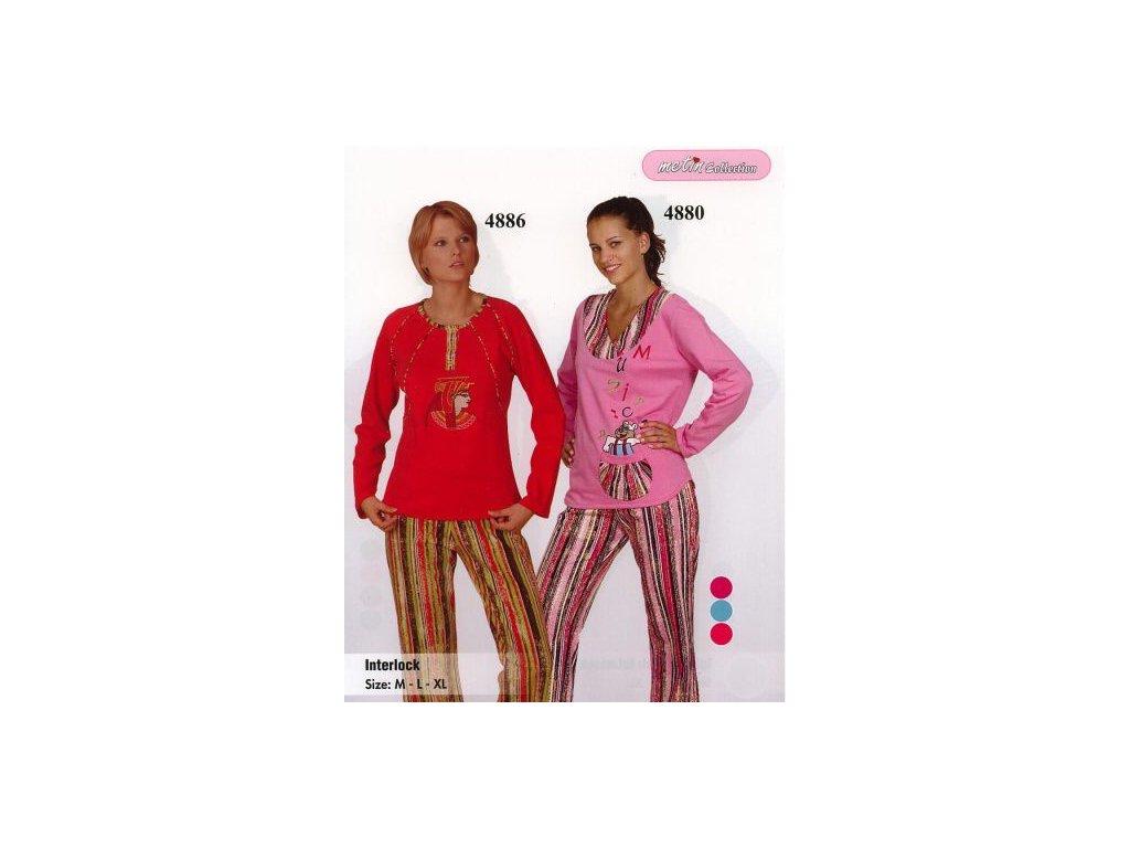 Bella Linda 4880 dámské pyžamo (Barva tyrkysová, Velikost oblečení L)