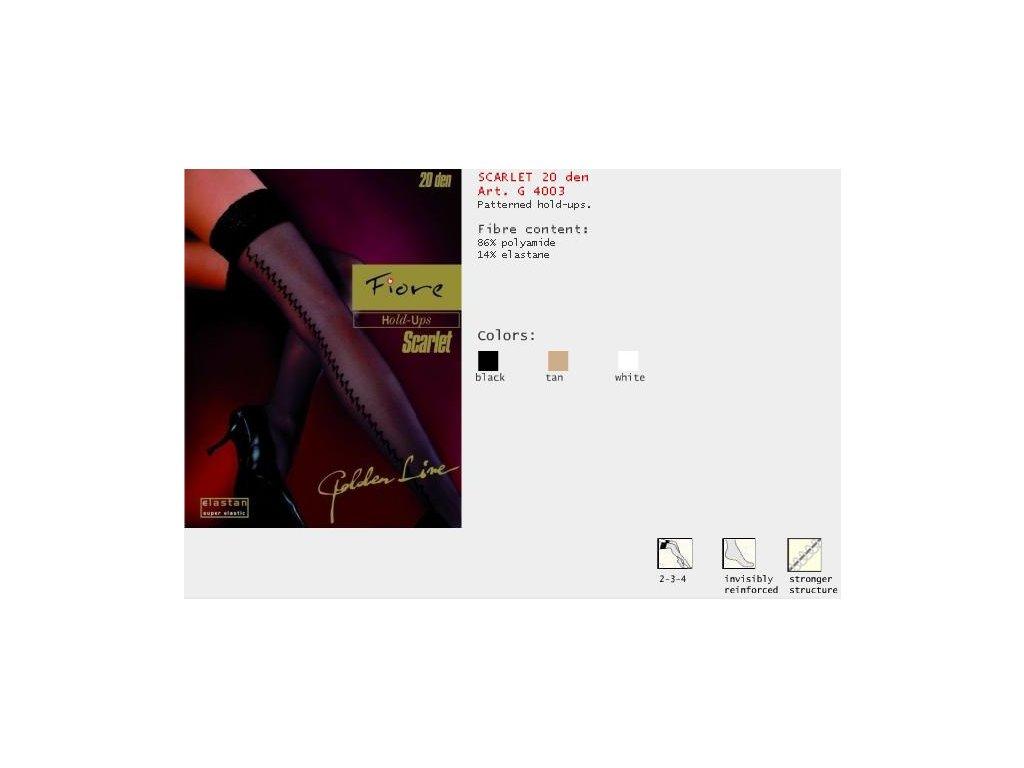 FIORE 4003 SCARLET dámské samodržící punčochy (Barva tan, Velikost oblečení L)