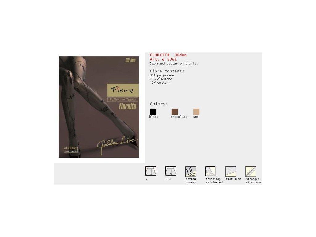 FIORE 5061 FLORETTA dámské punčochy (Barva tan, Velikost oblečení L)