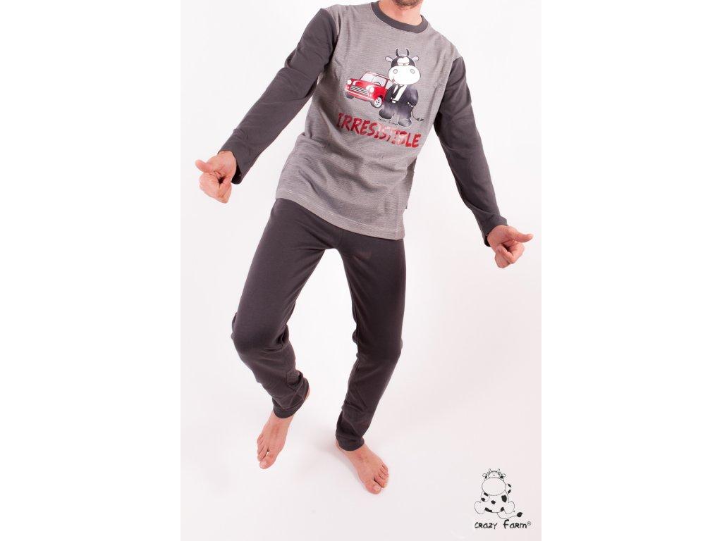 Crazy Farm pyžamo pánské 14314 šedá (Barva šedá tmavá, Velikost oblečení XL)