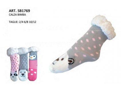 Morbidosi SB1769 dětské zateplené ponožky s kožíškem (Barva šedá, Velikost oblečení 6-8)
