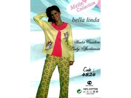 Bella Linda 4824 dámské pyžamo (Barva zelená světlá, Velikost oblečení XL)