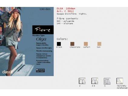 FIORE 5012 OLGA dámské punčochy (Barva hnědá, Velikost oblečení XL)