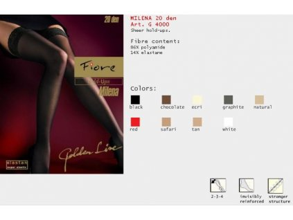 FIORE 4000 MILENA dámské samodržící punčochy (Barva smetanová, Velikost oblečení L)