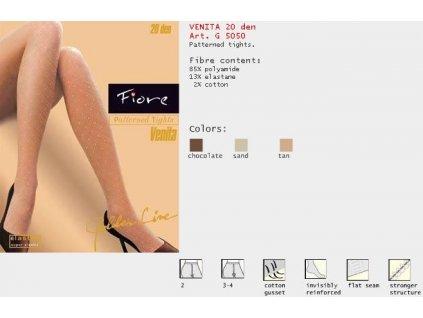 FIORE 5050 VENITA dámské punčochy (Barva tan, Velikost oblečení M)