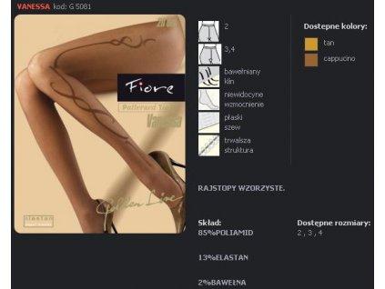 FIORE 5081 VANESSA dámské punčochy (Barva capuccino, Velikost oblečení M)