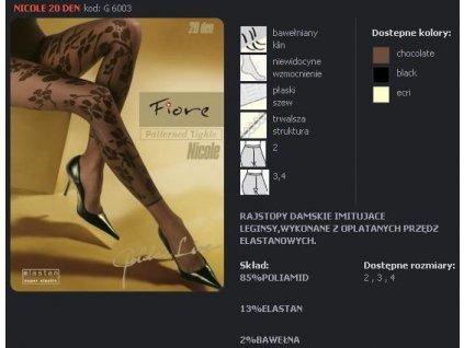 FIORE 6003 NICOLE dámské punčochy (Barva černá, Velikost oblečení M)