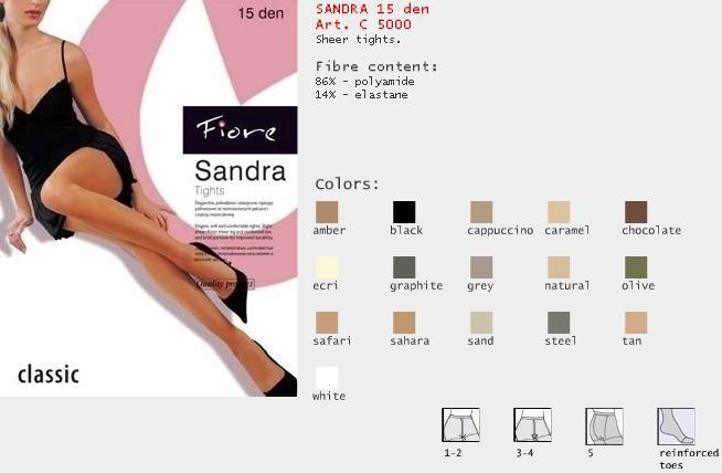 FIORE 5000 SANDRA dámské punčochy, bílá, L