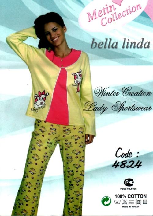 Bella Linda 4824 dámské pyžamo, zelená světlá, XL