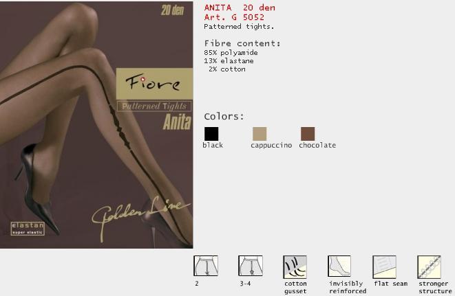 FIORE 5052 ANITA dámské punčochy, černá, L