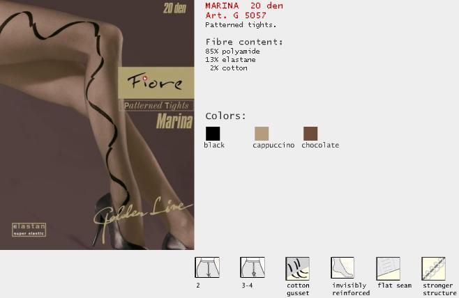 FIORE 5057 MARINA dámské punčochy, černá, M