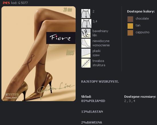 FIORE 5077 INES dámské punčochy, hnědá, L