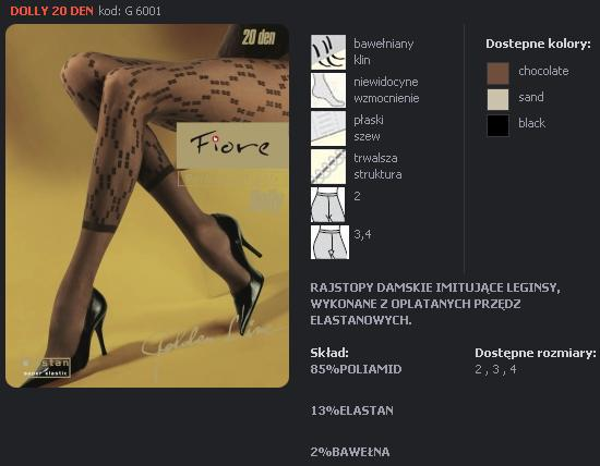 FIORE 6001 DOLLY dámské punčochy, černá, M
