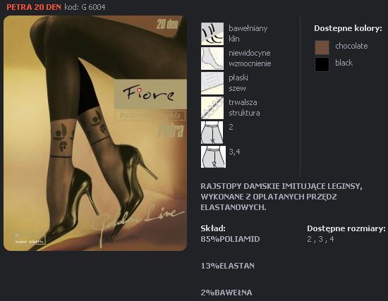 FIORE 6004 PETRA dámské punčochy, černá, M