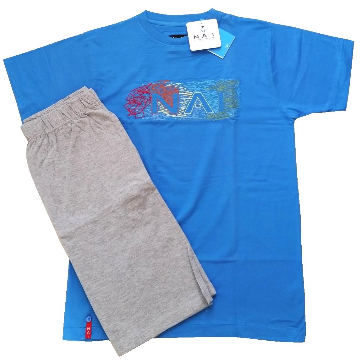 N.A.I. 10071 pánské pyžamo, modrá světlá, M