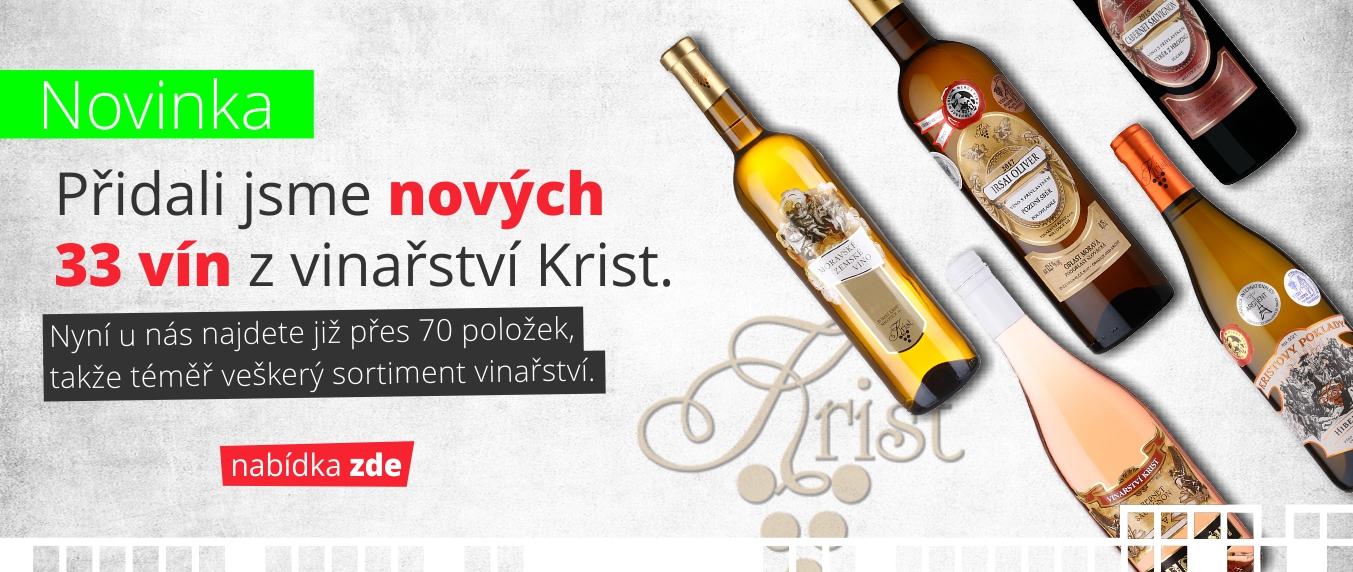 Přidali jsme nových 33 vín z vinařství Krist! Takže nyní již u nás najdete přes 70 položek od Krista.