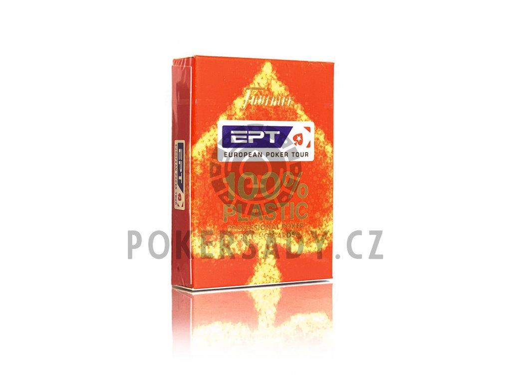 Poker karty Fournier EPT 100% Plastic - Index: Červená