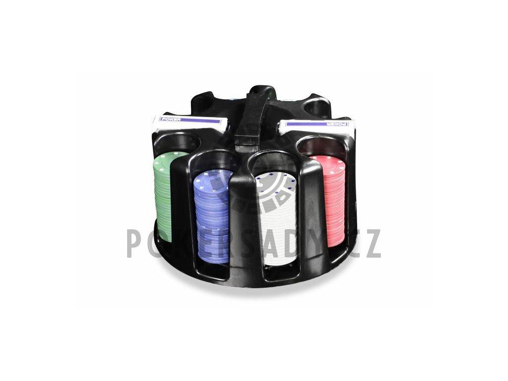 Poker set 200ks Caddy Otočný plastový stojan na žetony