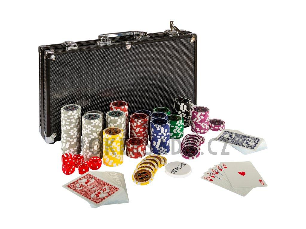 Poker Set - 300 laserových žetonů BLACK EDITION