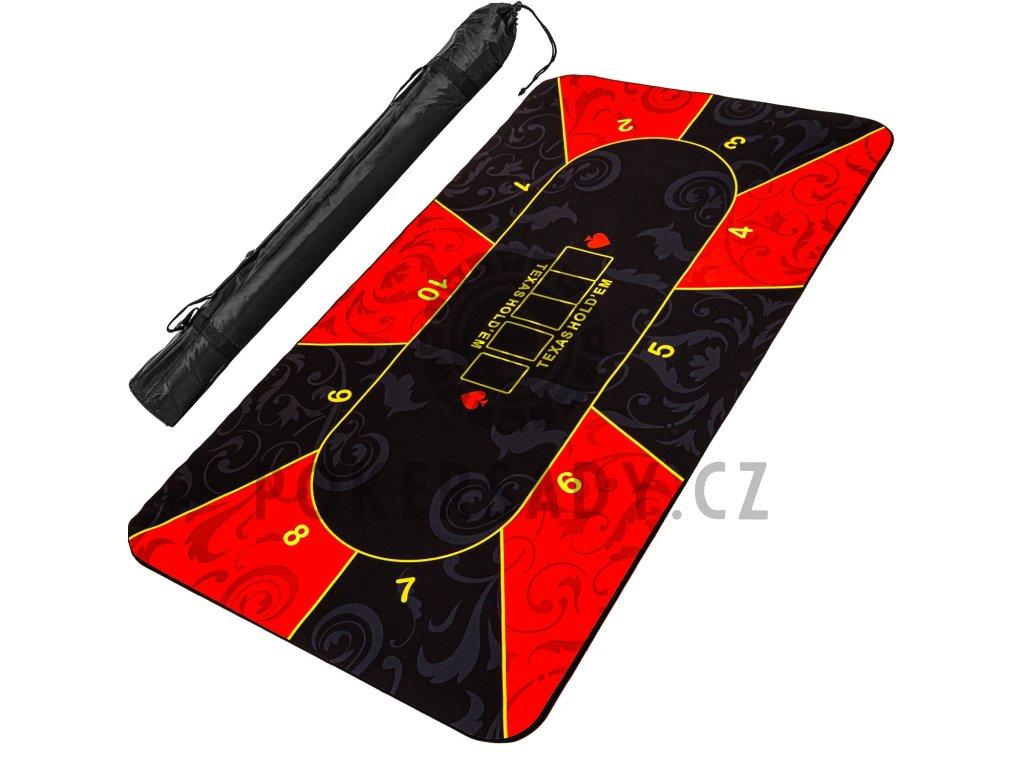 Skládací pokerová podložka, červeno/černá, 160 x 80 cm