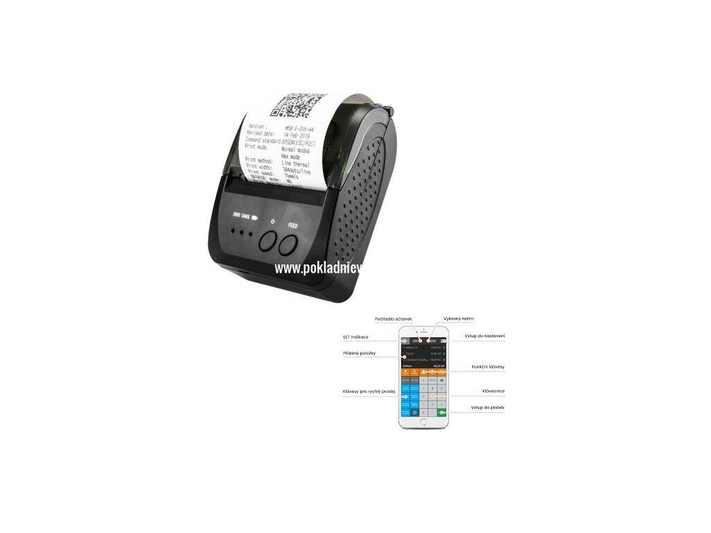 Termální tiskárna Bluetooth mobilní: iPhone Android Doprava zdarma