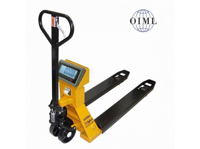 LESAK PV4TBWP1500, 1,5t, 550mmx1150mm, vážicí paletový vozík s tiskárnou