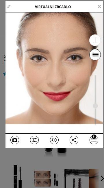 Použití virtuálního zrcadla na Pola Cosmetics
