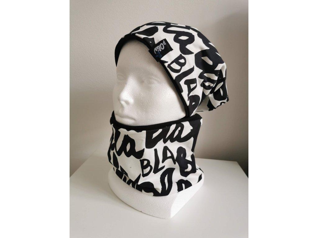 Čepice s nákrčníkem - bla bla s černou