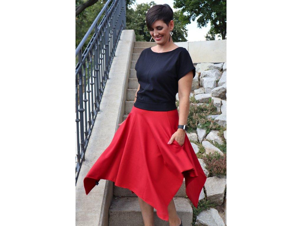 Šaty - retro bla bla s pasem červeným/ černým