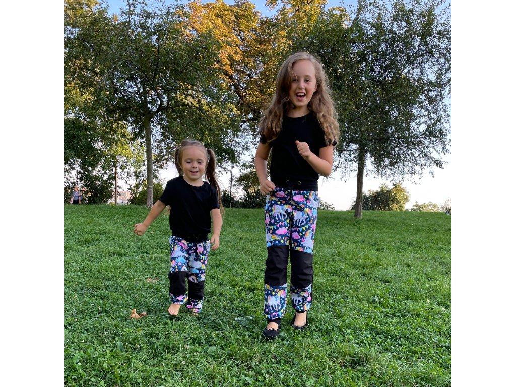 Dětské softshellové kalhoty - jednorožci
