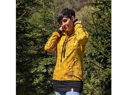 Dámská prodloužená mikina s kapucí - fashion girl