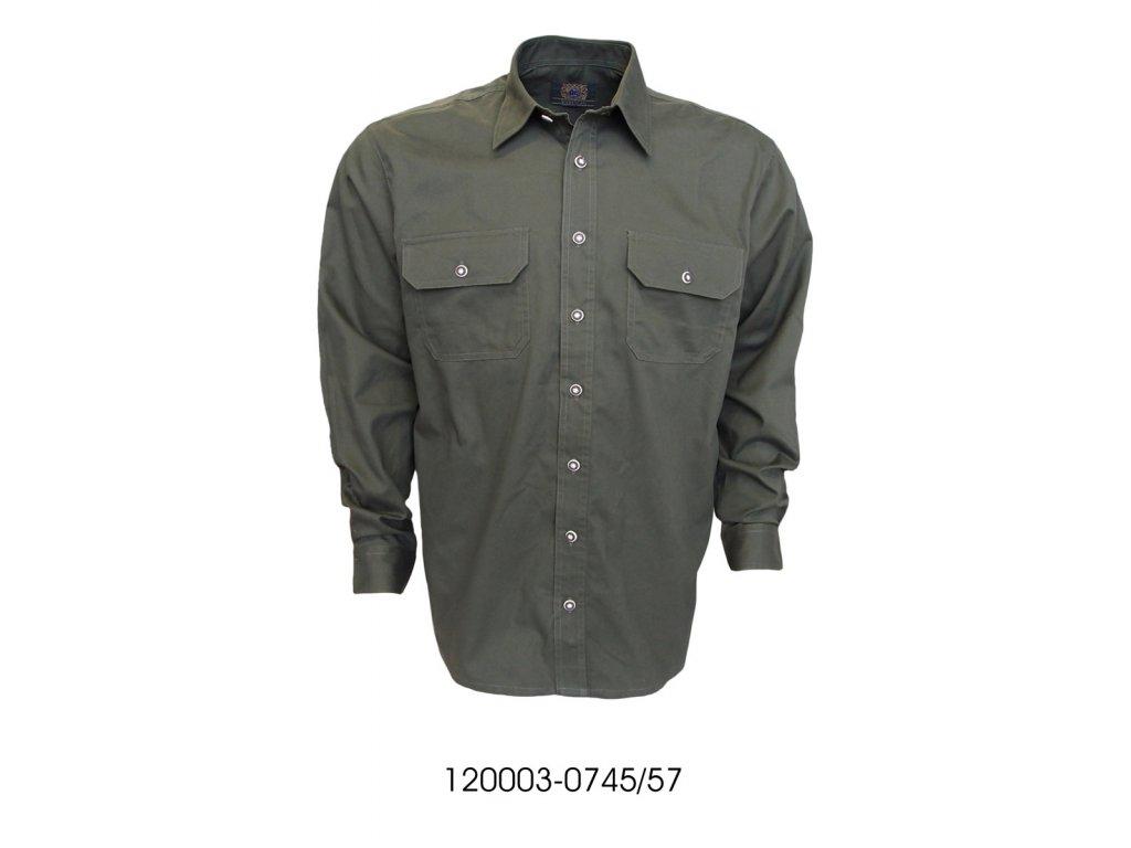 Pánska košela tmavozelená hladká-120003-0745/57