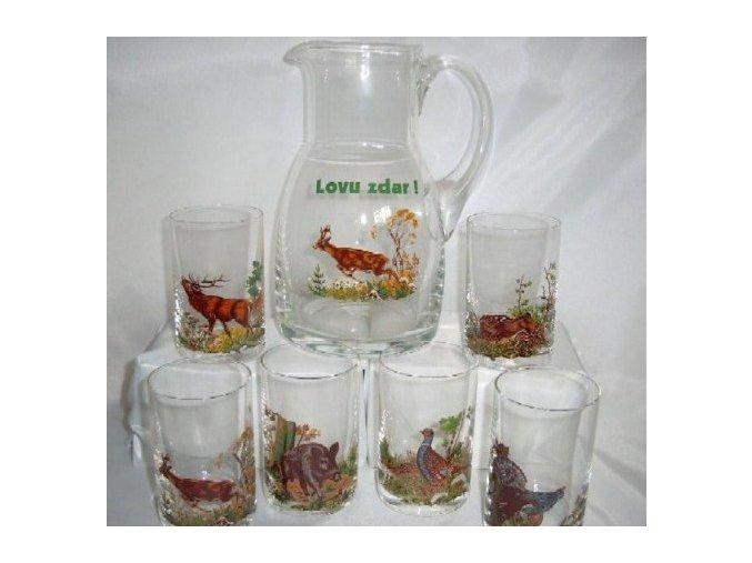 Poľovnícka súprava krčah + 6 pohárov 1dl - 100
