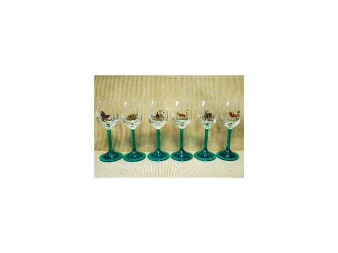 60 ml poháre likérky poľovnícky motív - farebné - 775