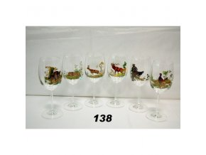 Poháre na víno kalich 200 ml poľovnícky motív - 138