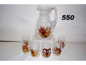 Poľovnícka súprava krčah a 6 ks pohárov hlavy - 550