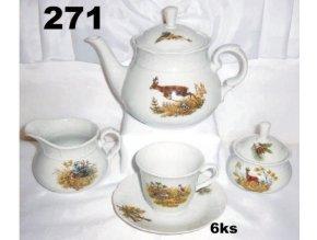 Kávová súprava 9 dielna poľovnícky motív - 271