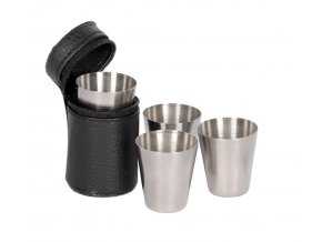 Stainless steel cup set (4pcs) with pouch - sada 4 pohárikov - VGS00239