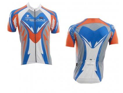 Dres YUCON, kr. rukáv, bílá/modrá/oranžová