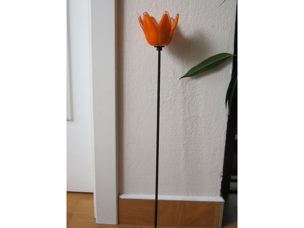 0006404 sklenena kytka oranzova