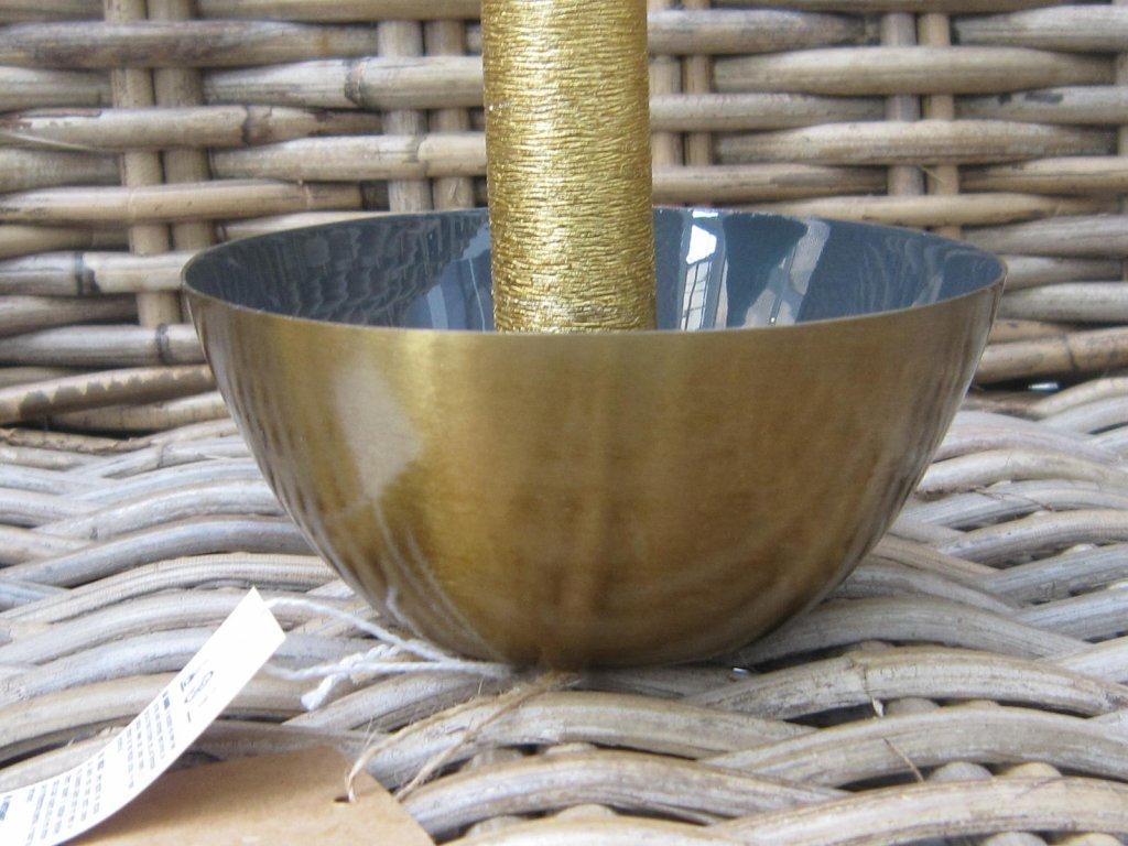 Svícen miska matná zlatá
