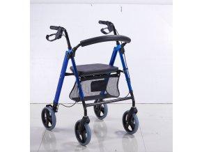 4 kolesové chodítko so sedátkom sklápateľné modré Garcia