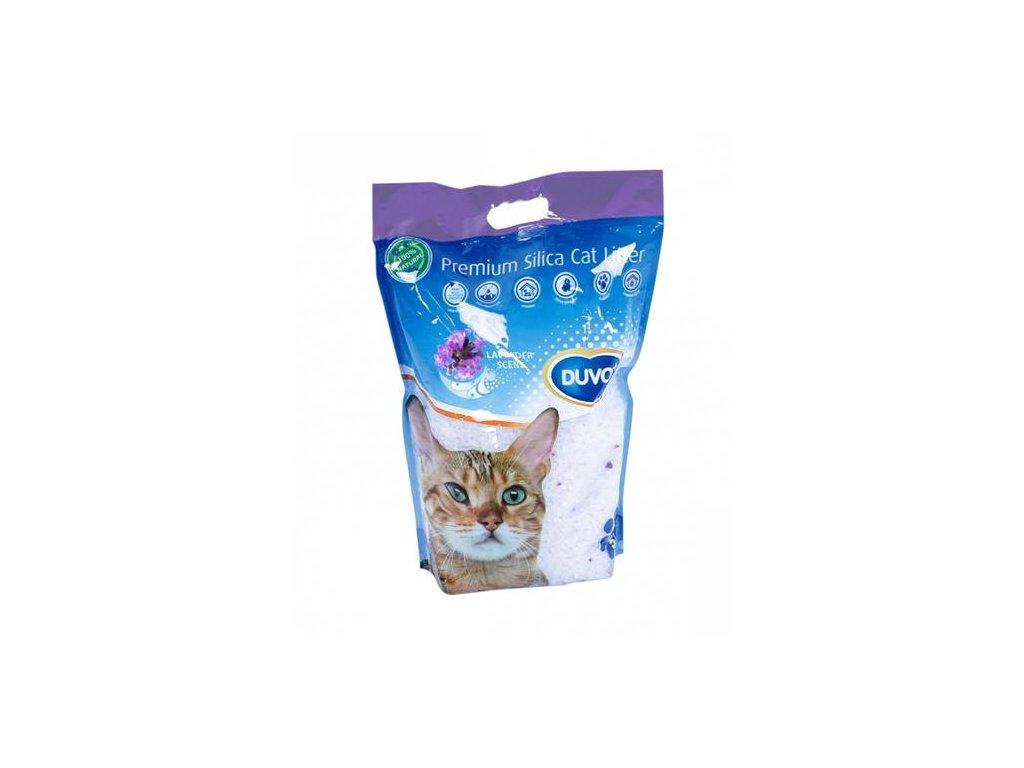 Podstielka DUVO+ pre mačky Premium silikátová levanduľa 5 L