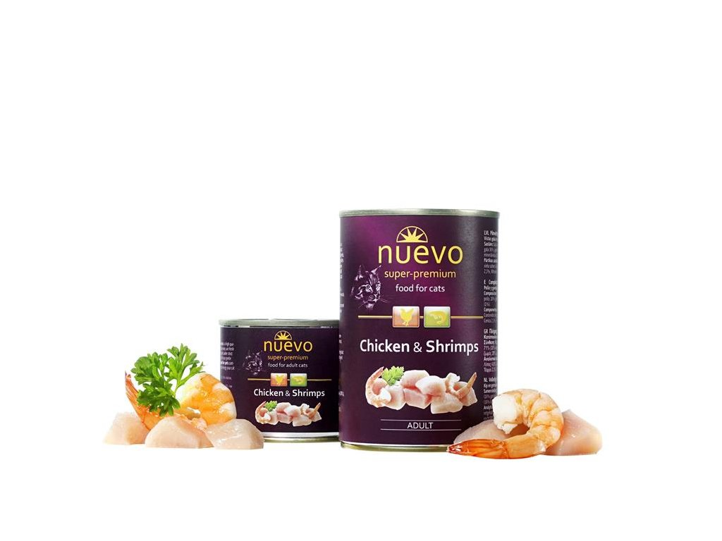 NUEVO cat Adult Chicken & Shrimps 400 g konzerva
