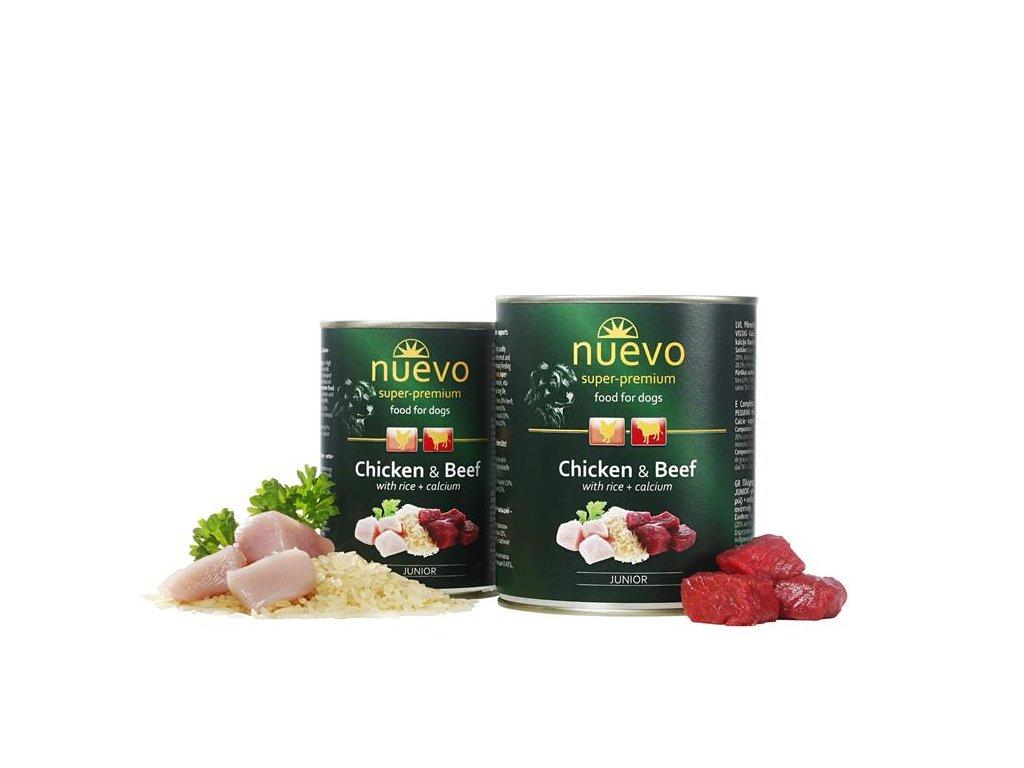 NUEVO dog Junior Chicken & Beef 800 g konzerva