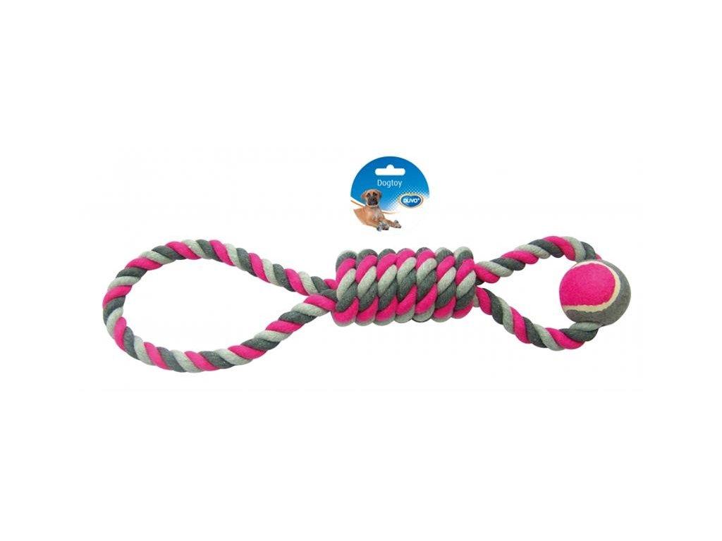 Hračka DUVO+ Lano stočené so slučkou a tenisovou loptou na ťahanie bavlna 53 cm